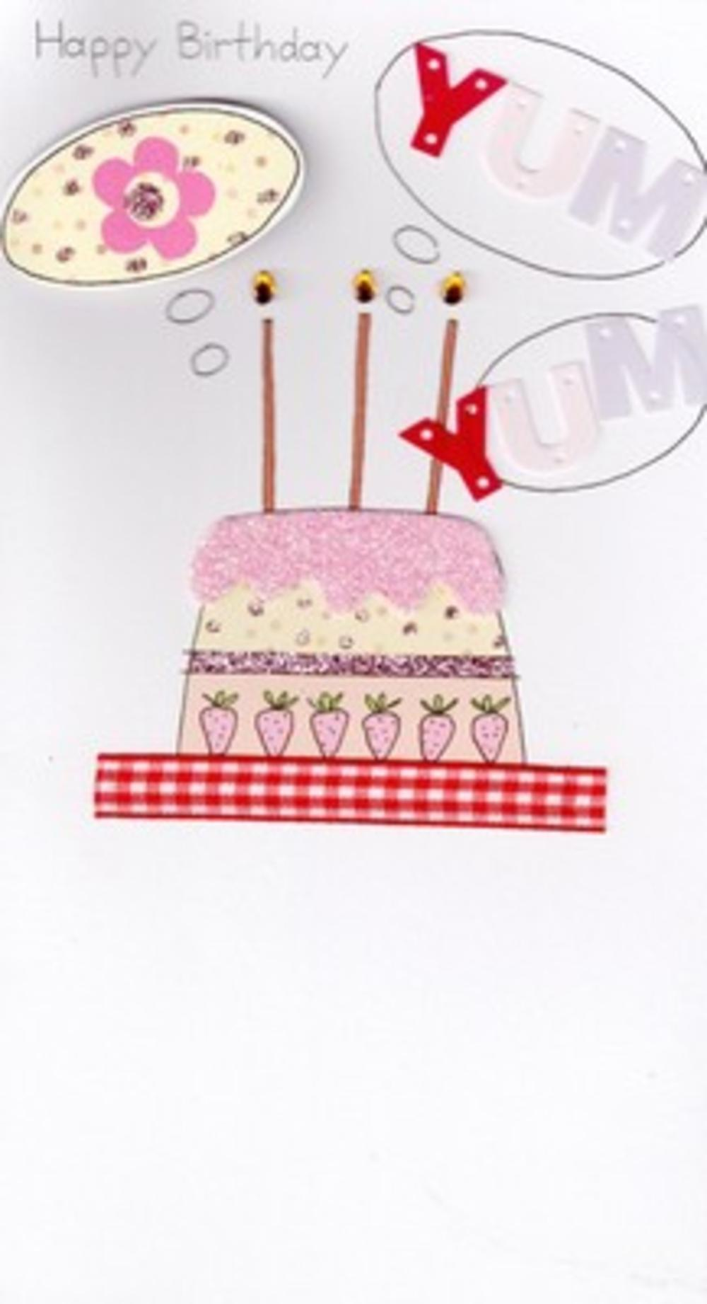 Handcrafted Greeting Cards Female Girl Birthday Card Pink Cake Blank Inside