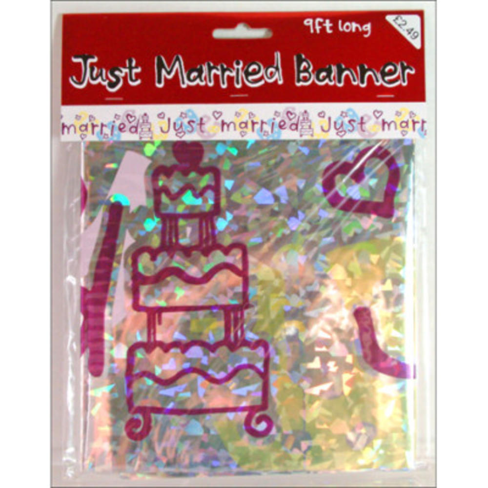 Just Married Foil Wedding Party Banner