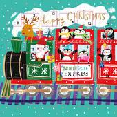 Santa Express Train Advent Calendar Christmas Card