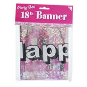 Pink 18th Birthday Foil Party Banner