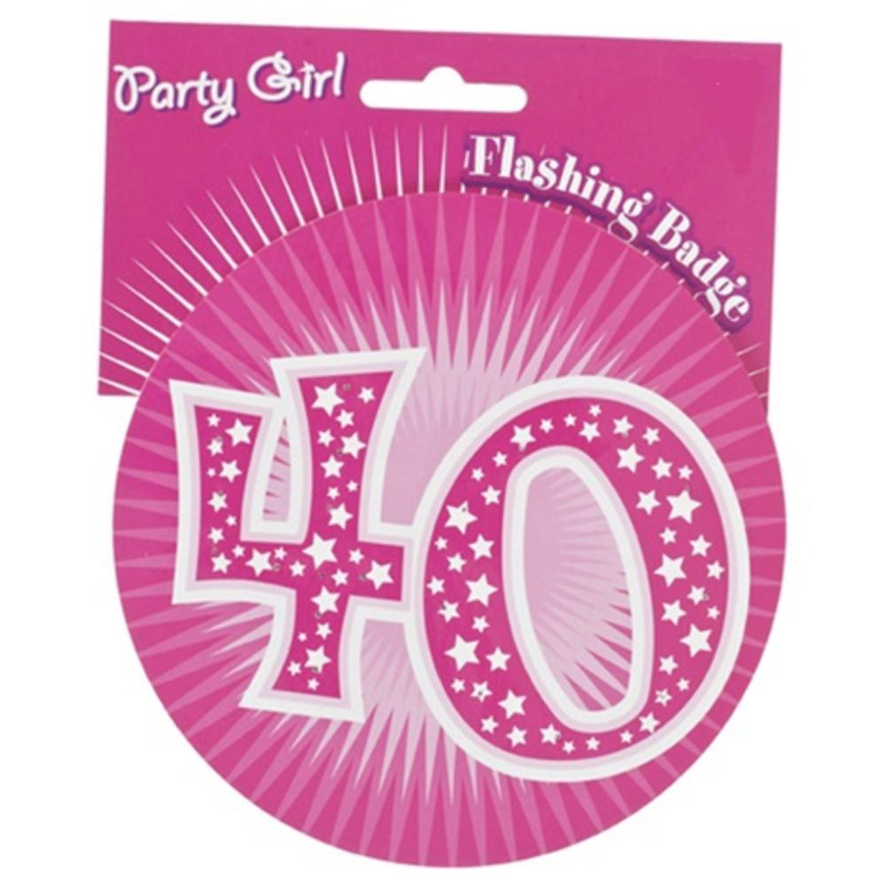 Pink 40th Birthday Jumbo Flashing Party Badge