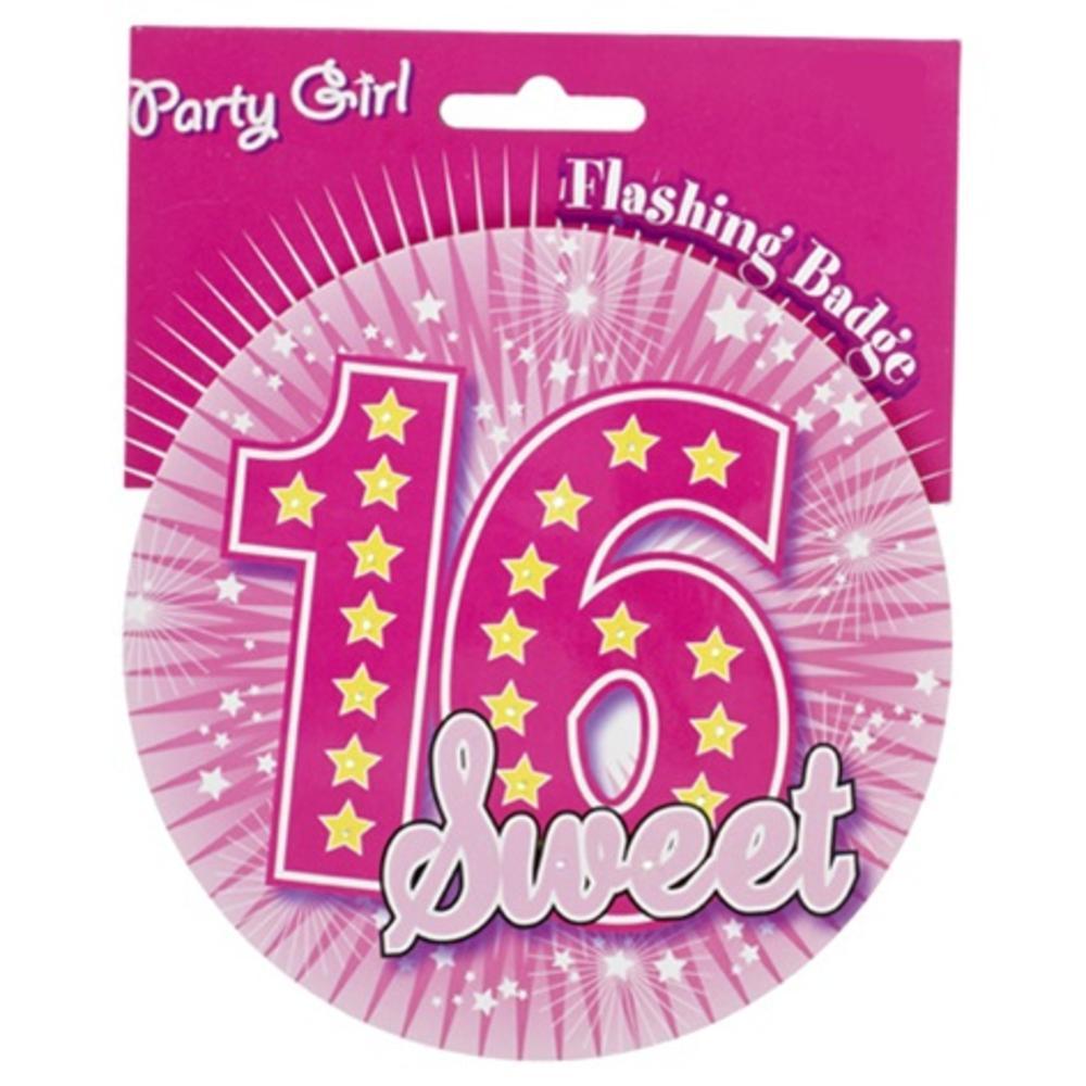 Pink 16th Birthday Jumbo Flashing Party Badge