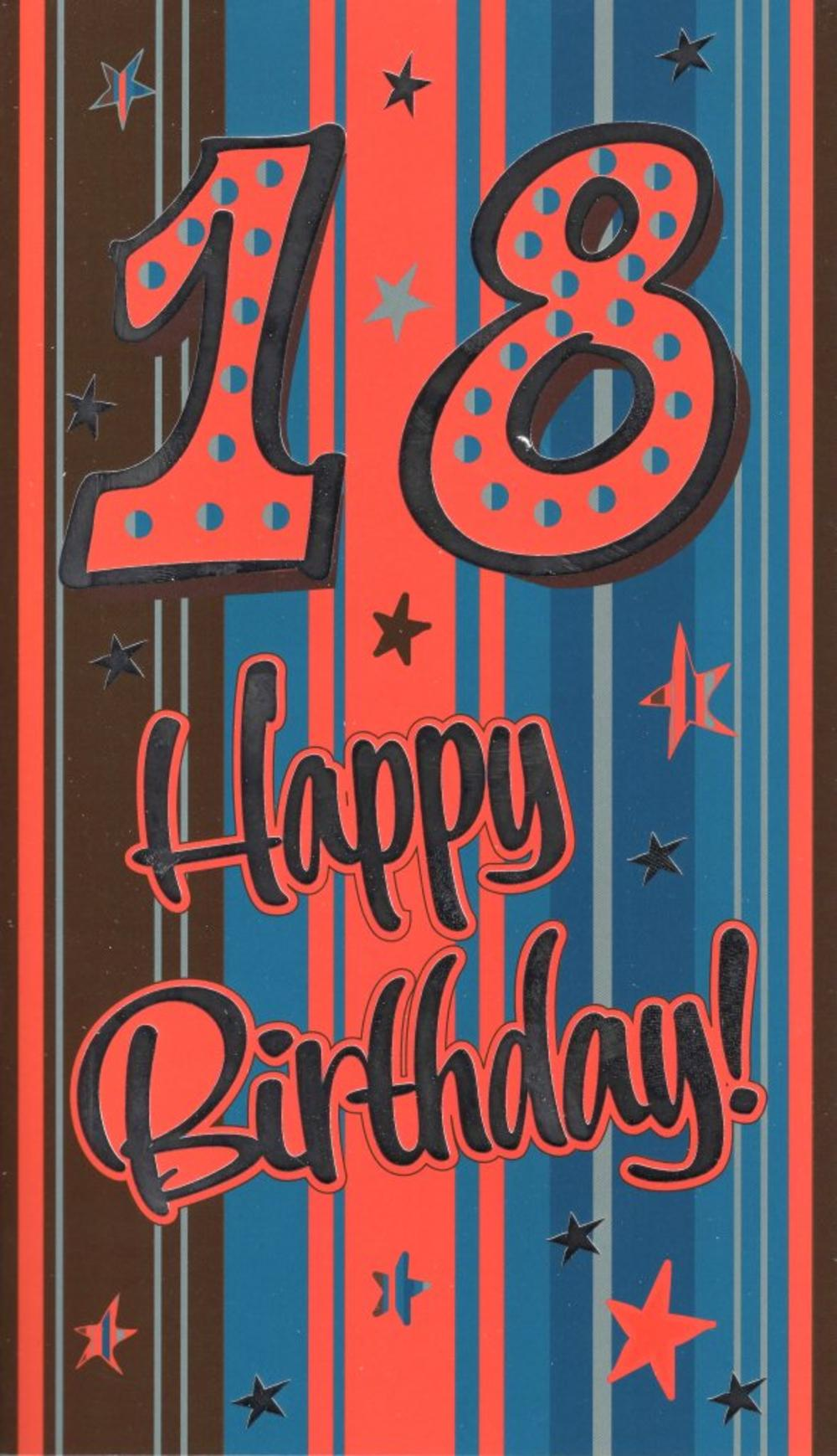 Large 18th Happy Birthday Card Male