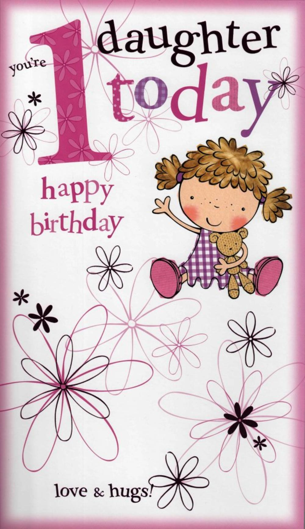 Large Daughter 1st Happy Birthday Card