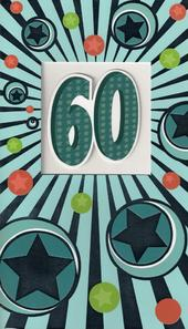 Large 60th  Happy Birthday Card Male