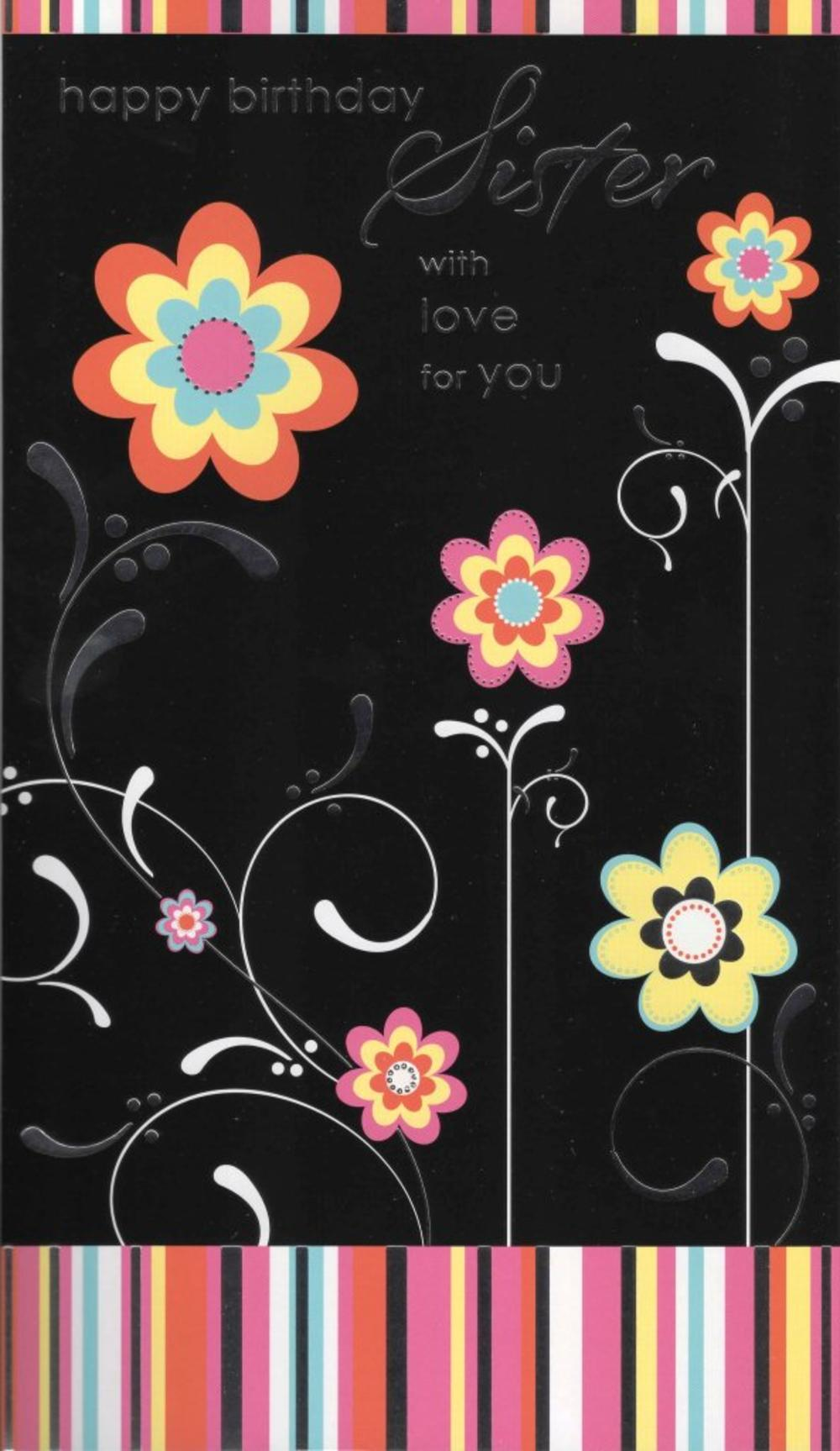 Large Happy Birthday Sister Card