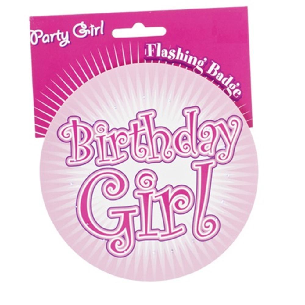 Birthday Girl Pink Jumbo Flashing Party Badge