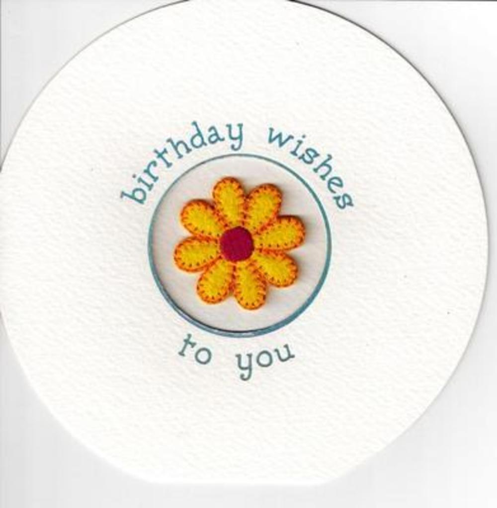 Flower Embellished Birthday Greeting Card