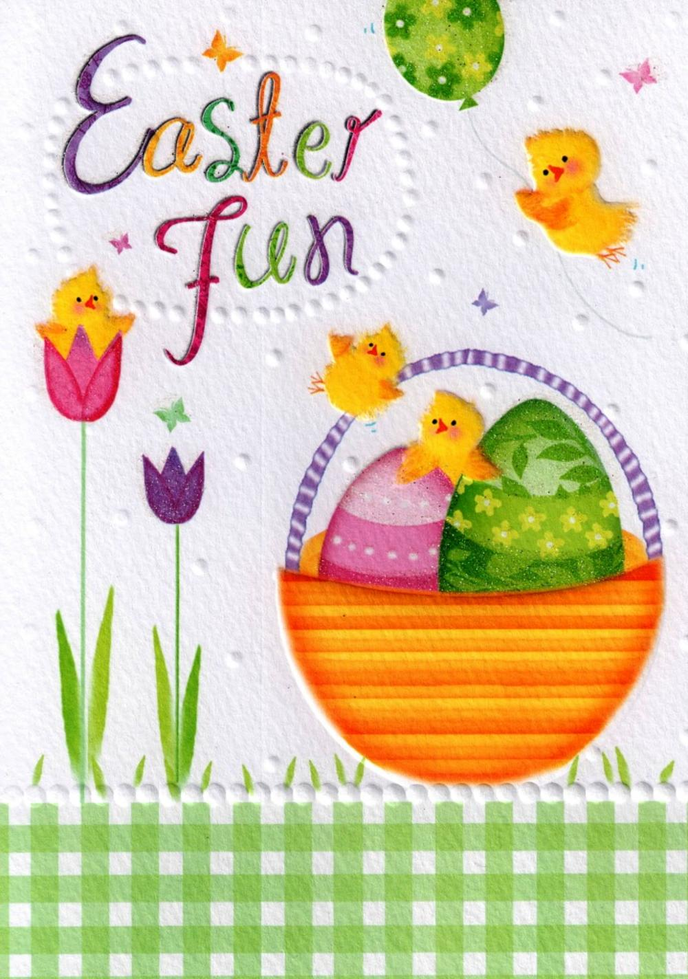 Easter Fun Glitter Finished Easter Greeting Card
