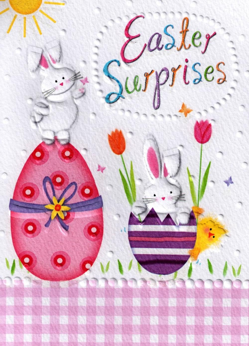 Easter Surprises Glitter Finished Greeting Card