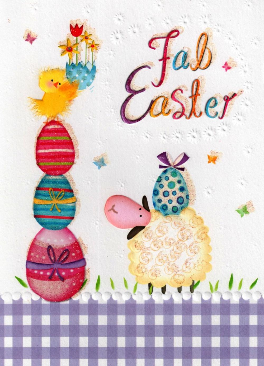 Fab Easter Glitter Finished Greeting Card