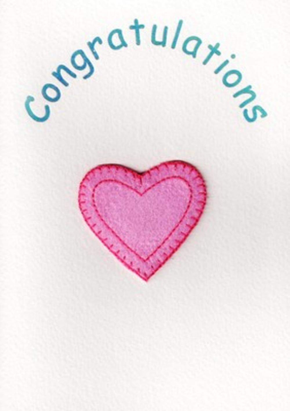 Congratulations Card Pink Heart Greeting Card