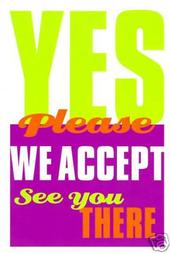 Yes We Accept Acceptance Card