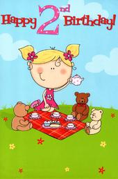 2 Today Special Age Girls 2nd Birthday Card