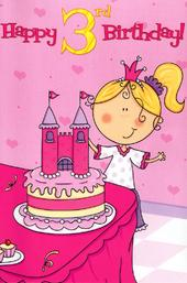 3 Today Special Age Girls 3rd Birthday Card