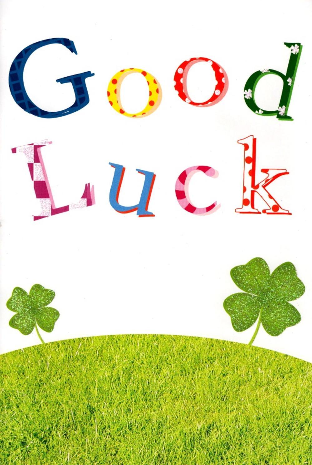Good Luck Four Leaf Clover Lucky  Greeting Card