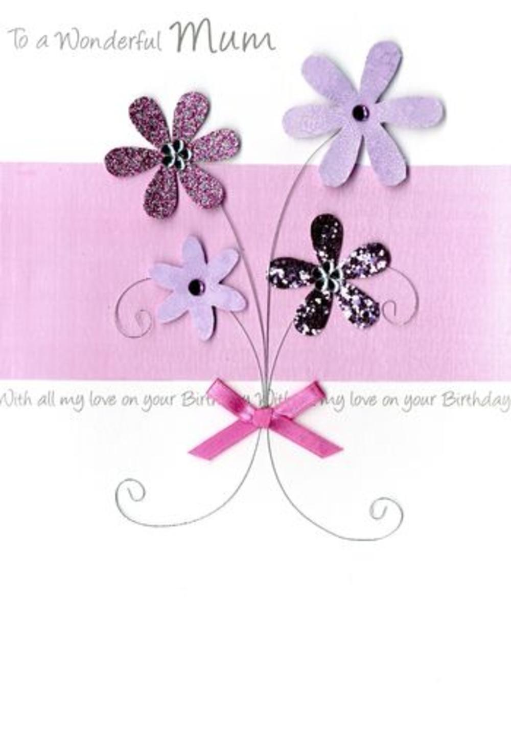 Large Luxury Wonderful Mum Birthday Greeting Card