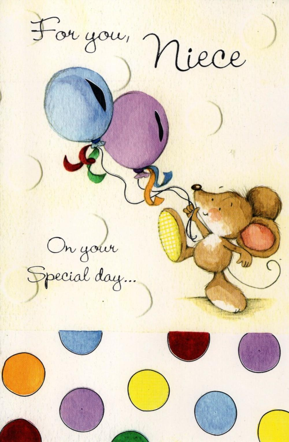 Niece Cute Mouse Birthday Greeting Card