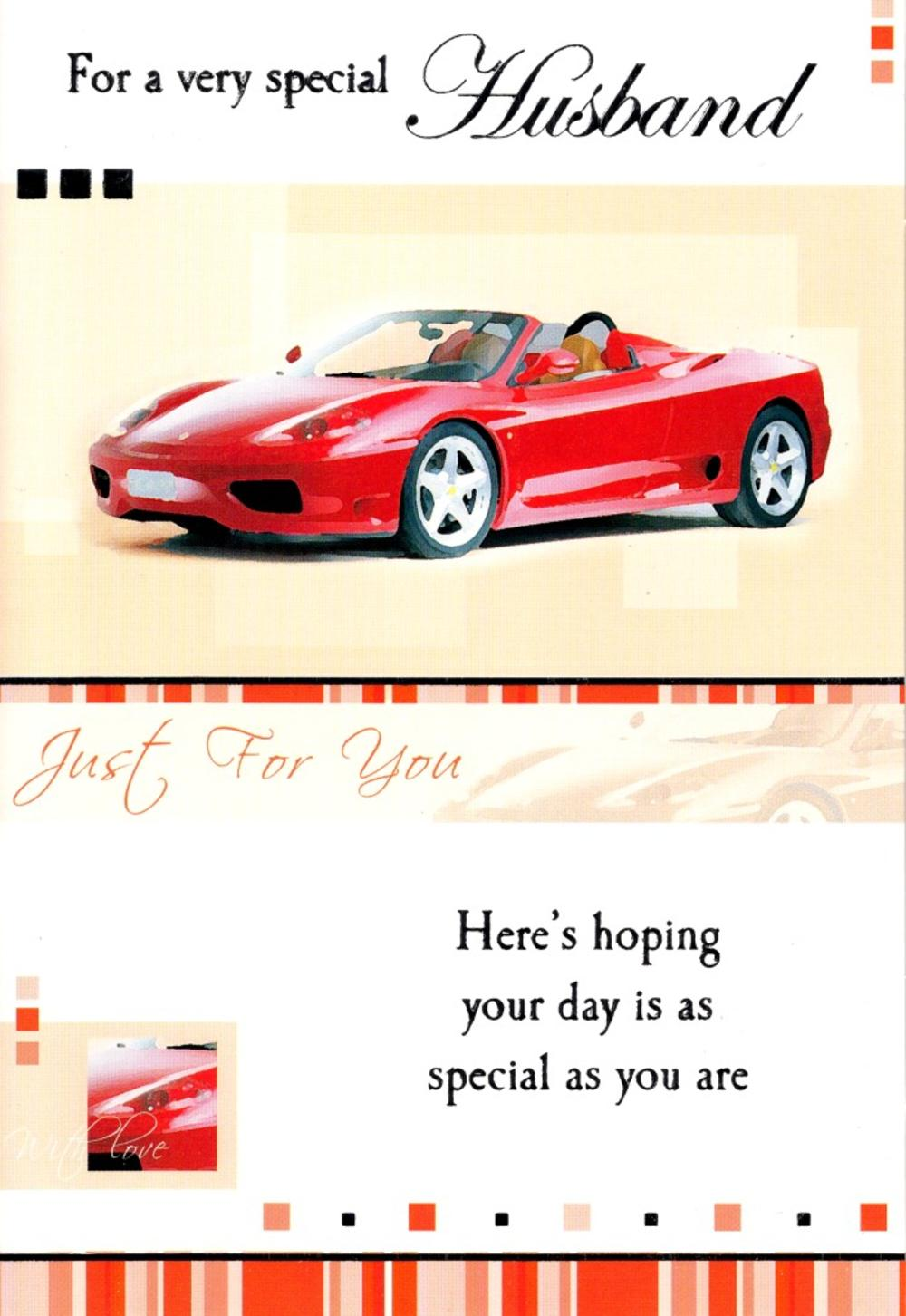 Husband Sports Cars Birthday Greeting Card