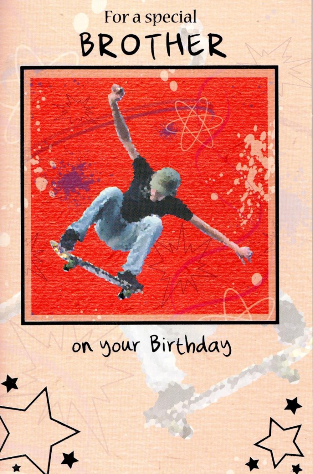 Brother Skateboarding Birthday Greeting Card