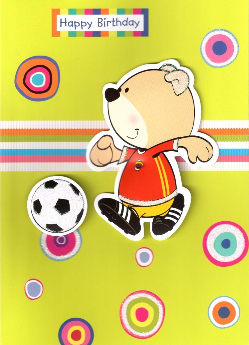 Boys Bear Football Birthday Card