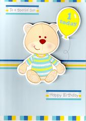 Son 1st Birthday Bear 1 Today Card