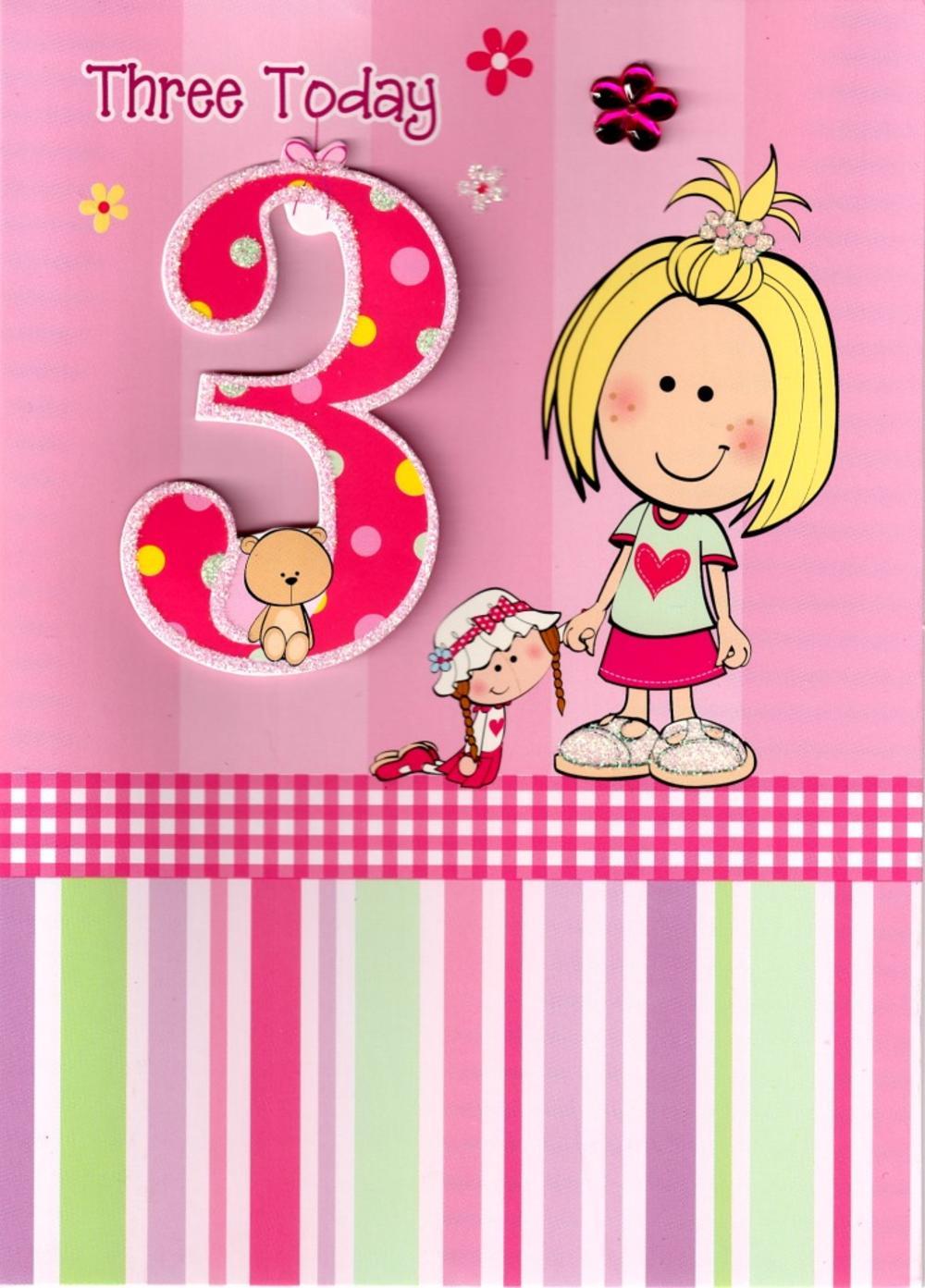 Girls 3rd Birthday 3 Three Today Card