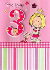 Girls 3rd Birthday 3 Three Today Card