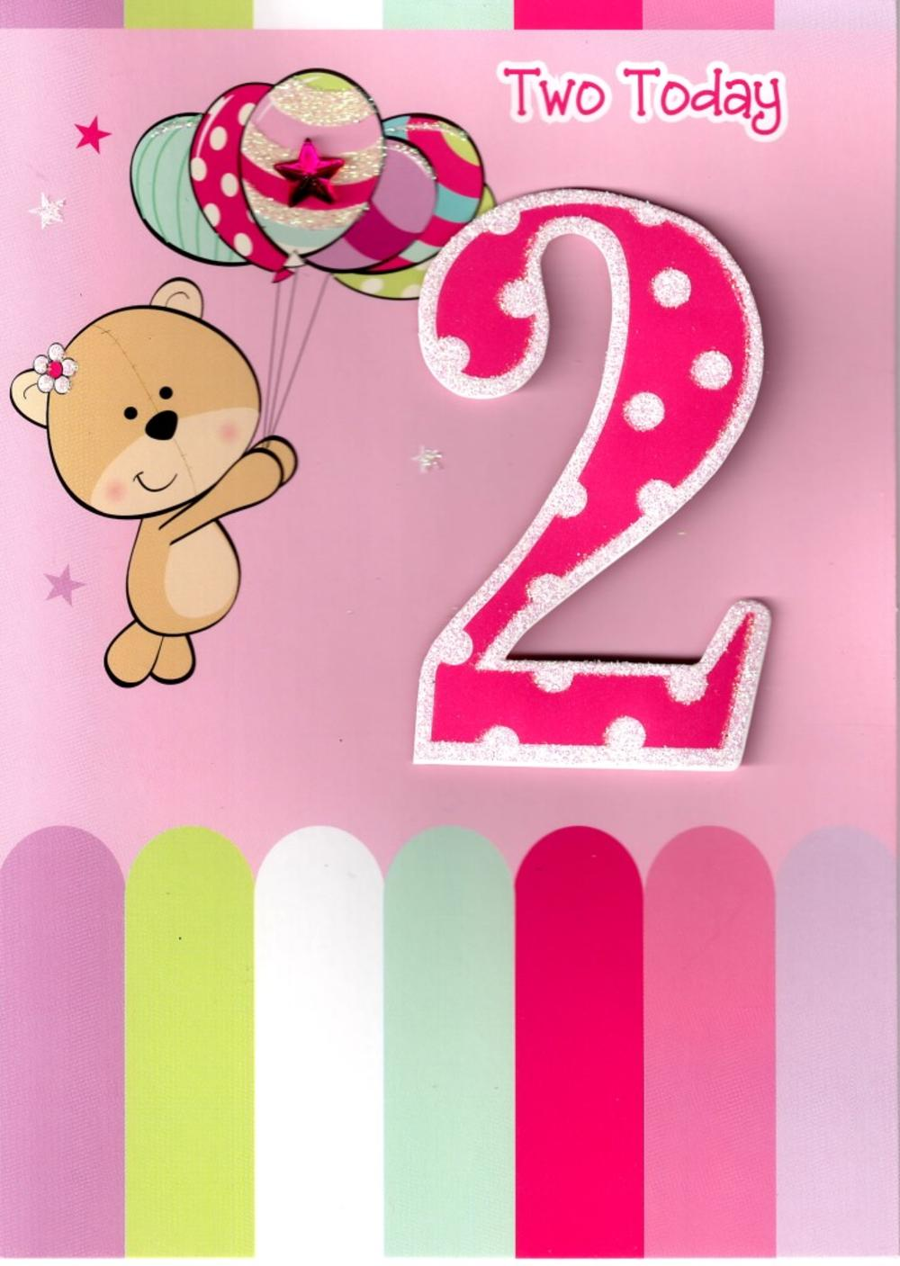 Girls 2nd Birthday 2 Two Today Card Cards Love Kates