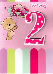 Girls 2nd Birthday 2 Two Today Card