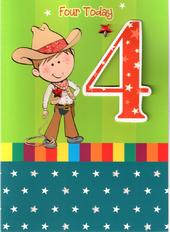 Boys 4th Birthday 4 Four Today Card