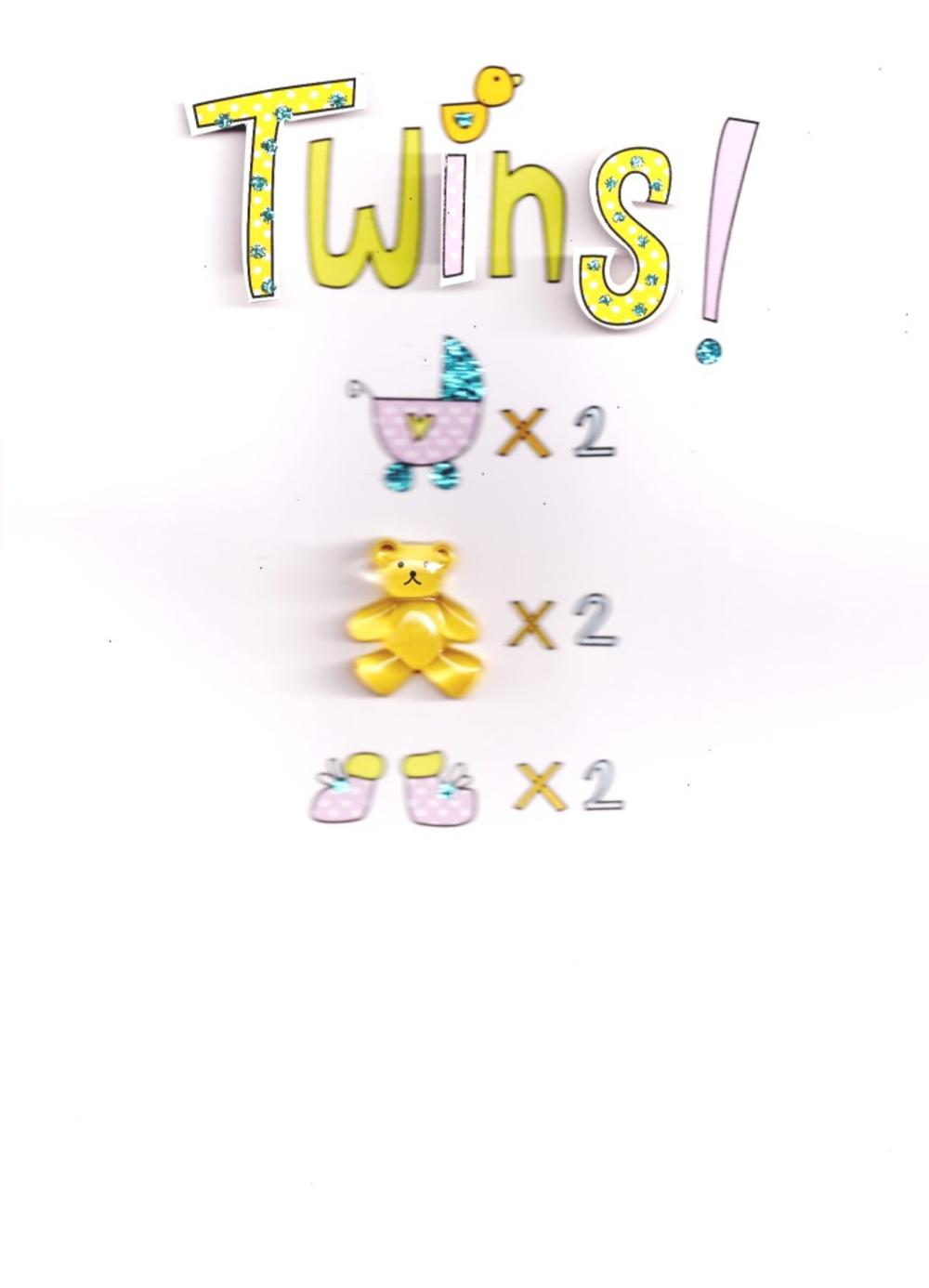 New Baby Twins Handcrafted Greeting Card