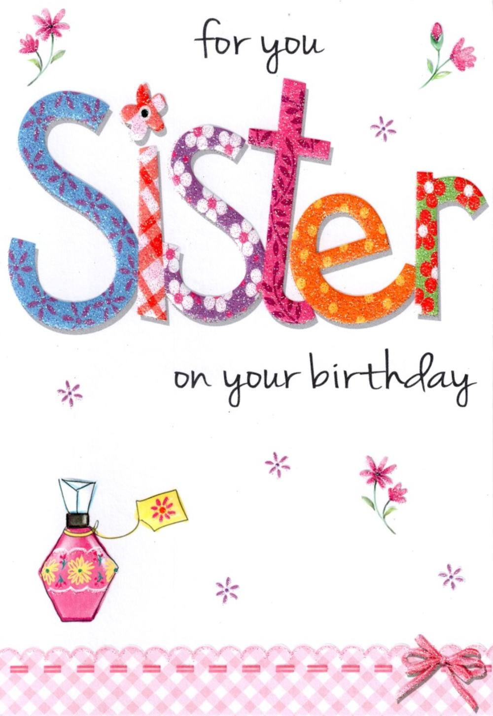 Sister Lovely  Birthday Card