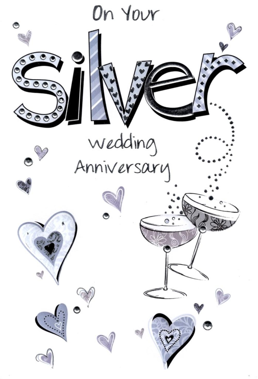 Lovely Silver 25th Anniversary Card