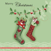 Box of 5 Stockings Christmas Cards Hand Finished
