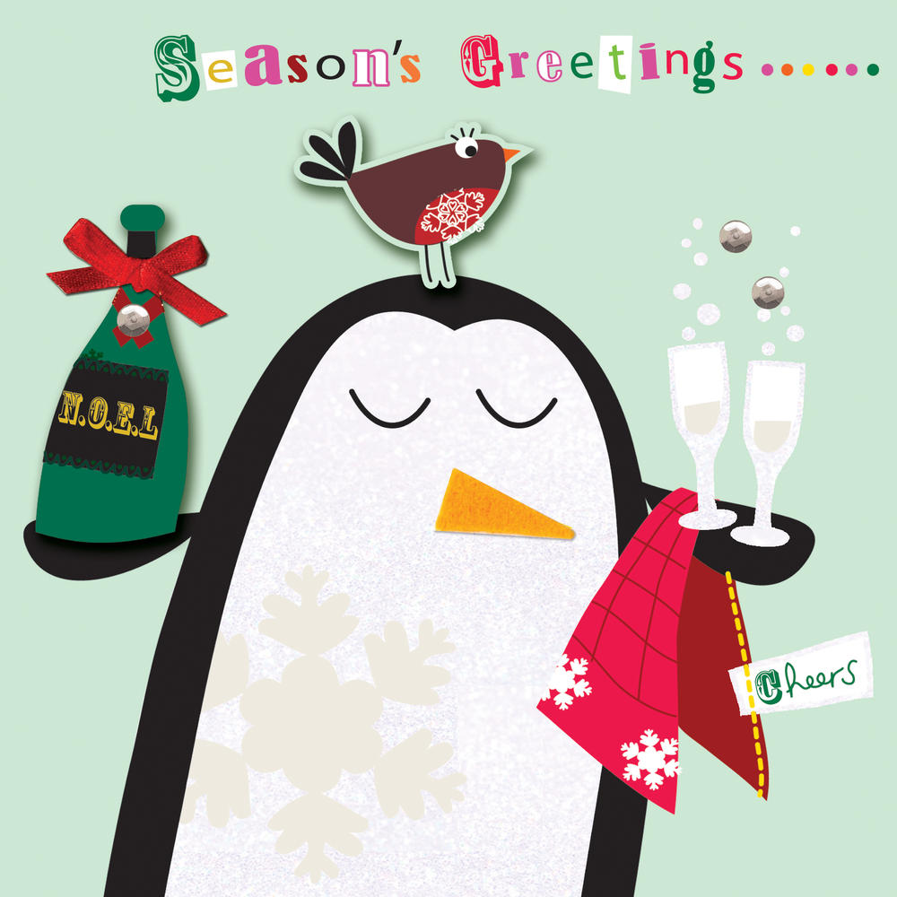 Box of 5 Penguin Christmas Cards Hand Finished