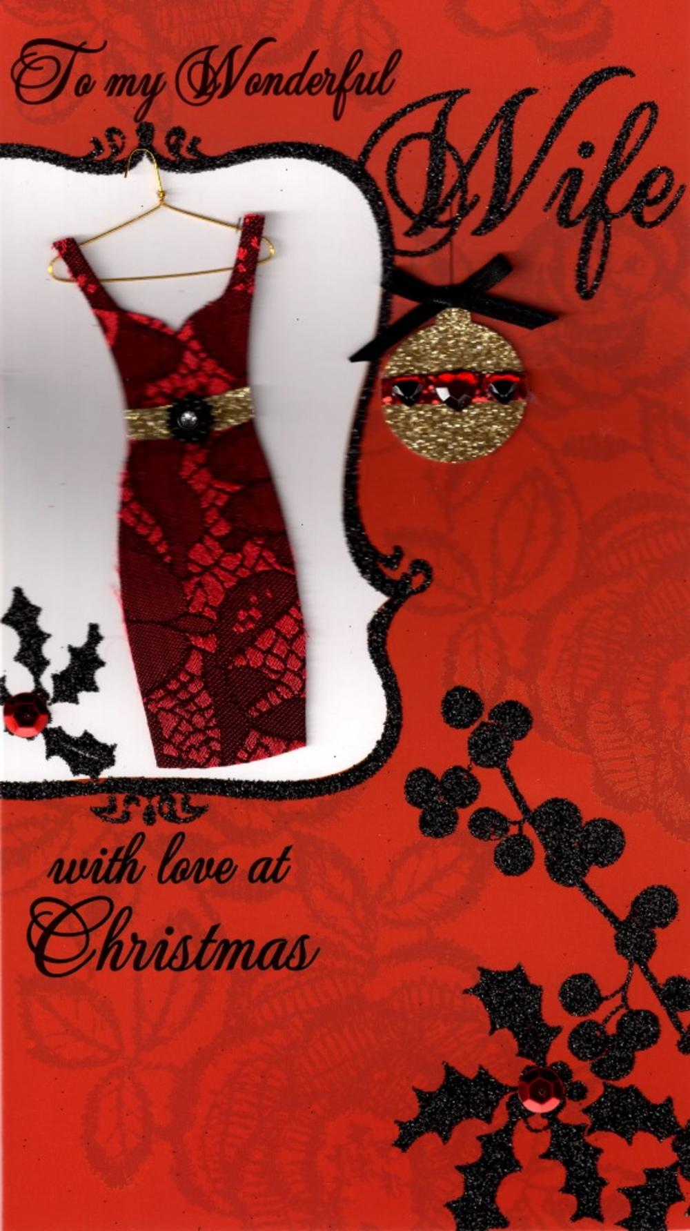 To My Wonderful Wife Luxury Handmade Christmas Card