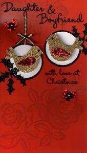 Daughter & Her Boyfriend Luxury Handmade Christmas Card