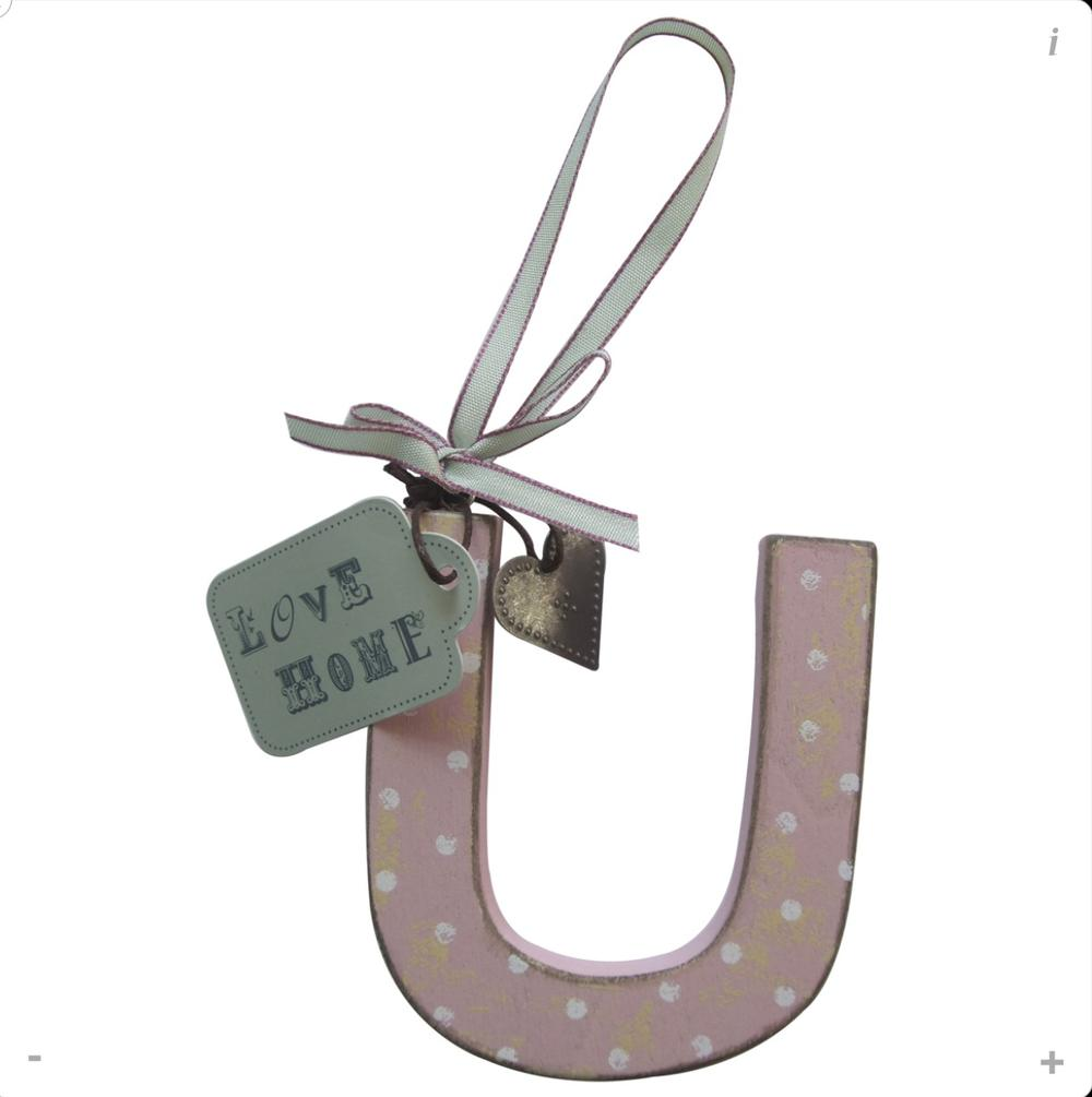 Letter U Shabby Wooden Love Home Hanging Letters
