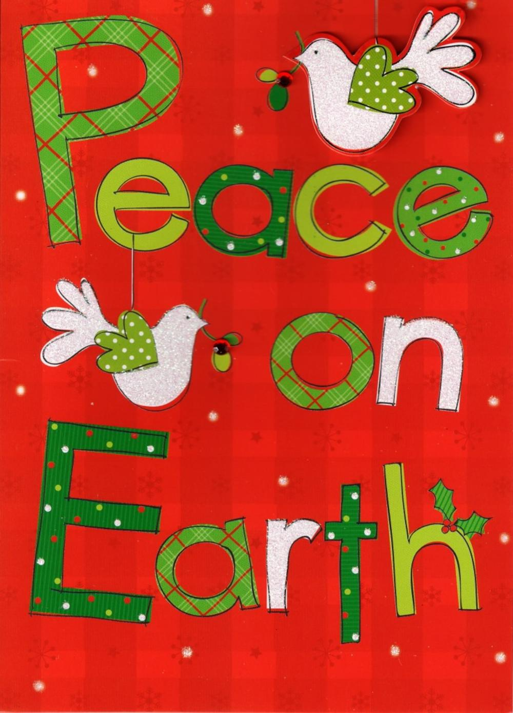 peace on earth hand finished christmas card - Peace On Earth Christmas Cards