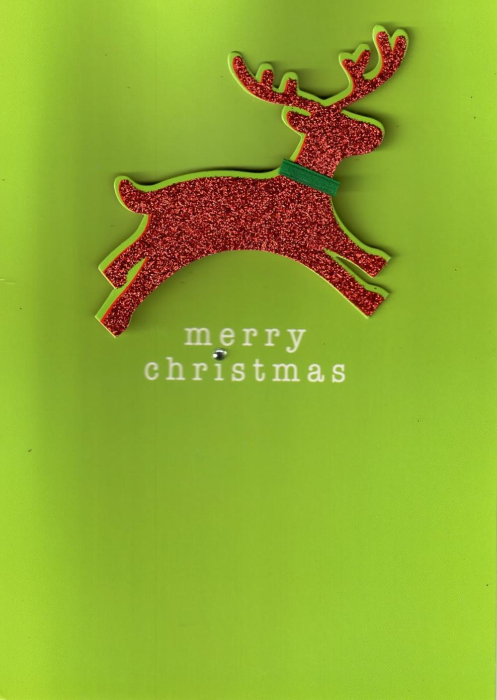 Reindeer Hand Finished Christmas Card