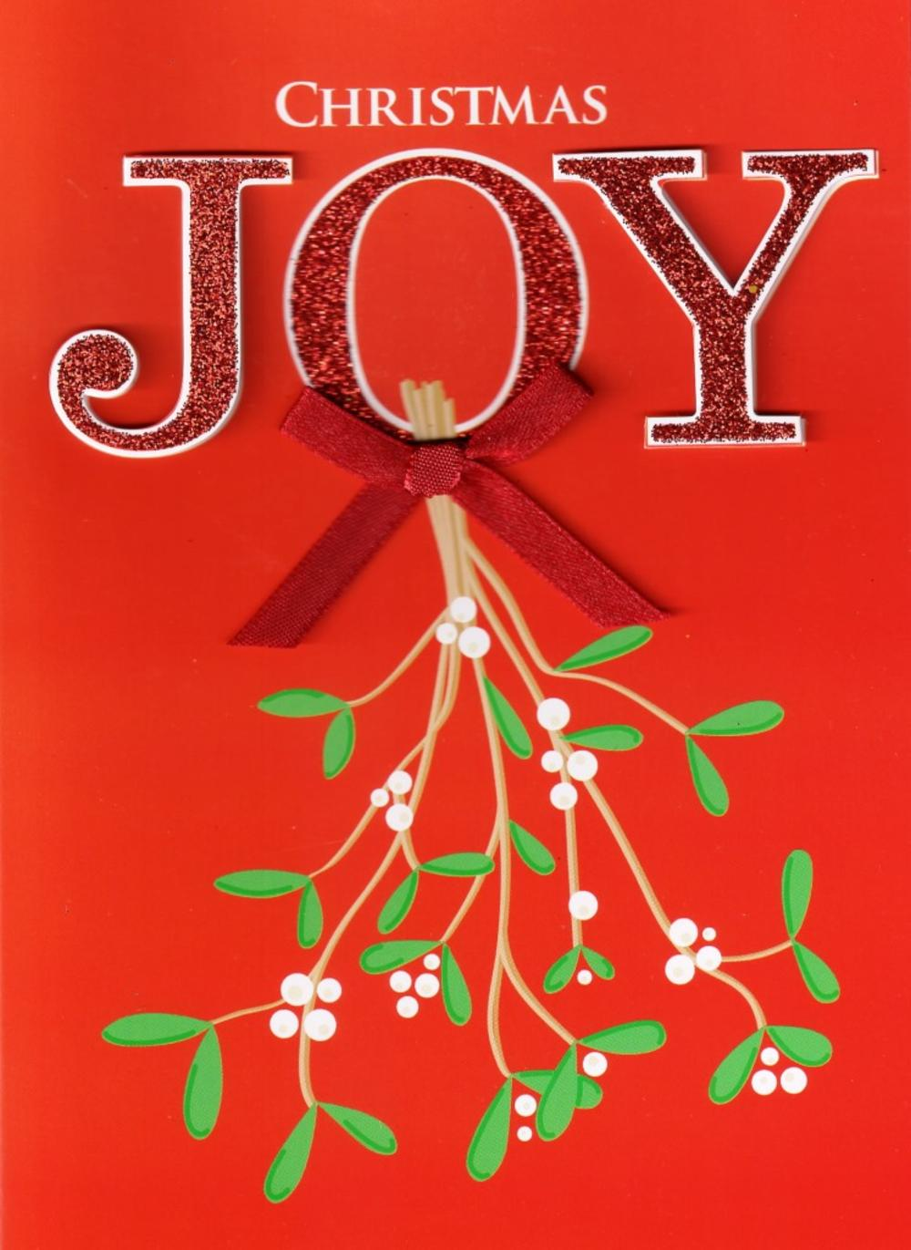 Joy Mistletoe Hand Finished Christmas Card
