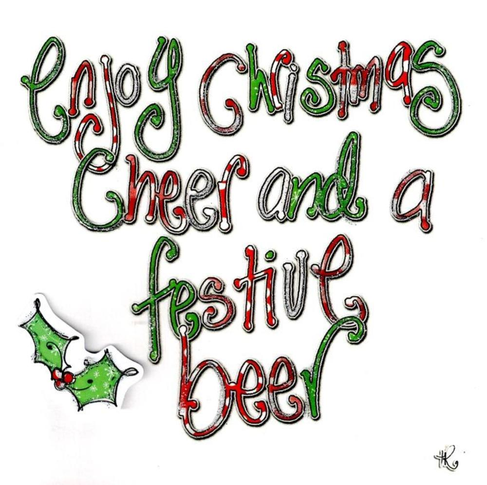 Enjoy Christmas Cheer & Beer Christmas Card Tracey Russell Cards