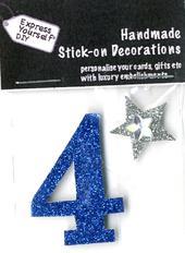 Number 4 Diy Card Topper Blue