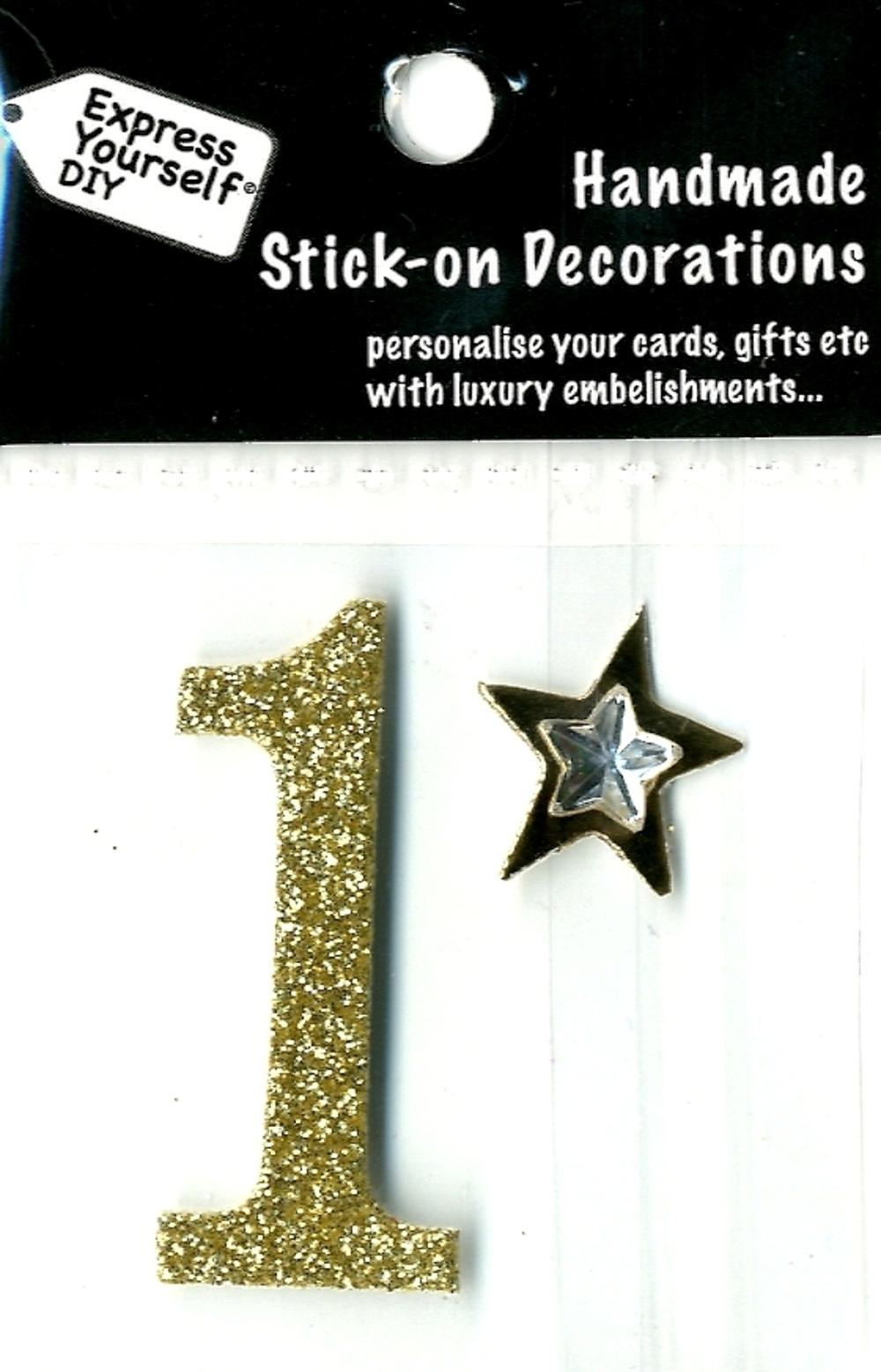 Number 1 Diy Card Topper Gold