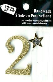 Number 2 Diy Card Topper Gold