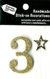 Number 3 Diy Card Topper Gold