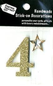Number 4 Diy Card Topper Gold