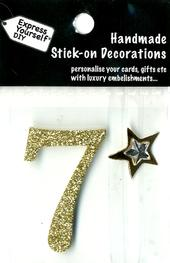 Number 7 Diy Card Topper Gold
