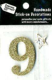Number 9 Diy Card Topper Gold